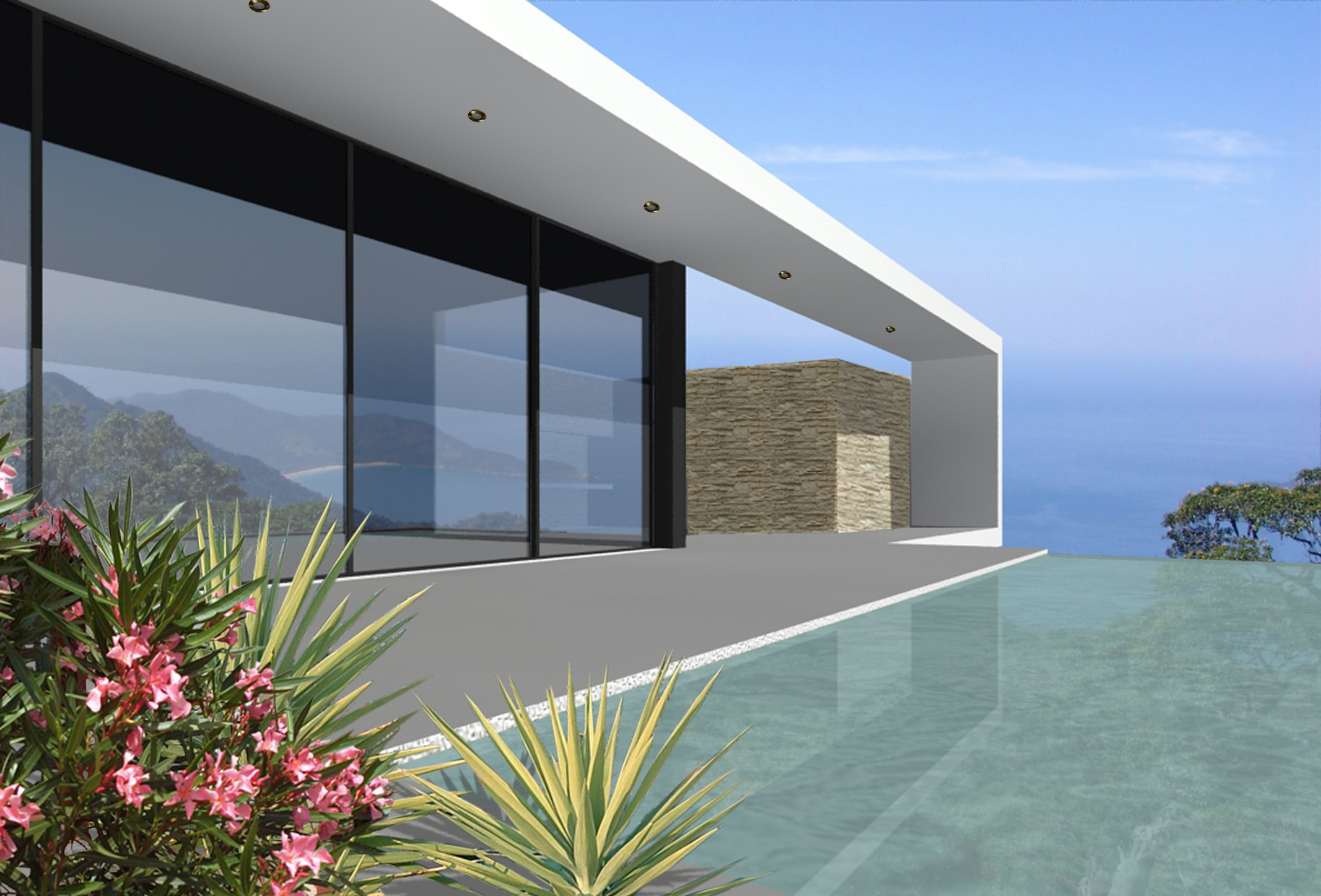 Villa contemporaine bord de mer architecture et ma tre d for Villa contemporaine plan